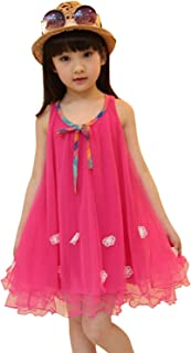 Hotwon Kids Girls A-line Tulle Dress Sleeveless Sundress Bow Floral Skirt