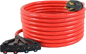Conntek GEN1688 L14-30P 25FT 30 Amp 4 Prong Generator Distribution Cord to (4) 15/20 Amp Female Connector