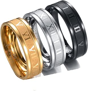 4EAELove Stainless Steel Couples Ring Roman Numerals Ring Titanium Engraved Promise Ring Wedding