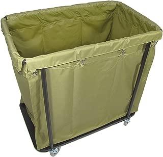 Crayata Laundry Cart, Extra Large Commercial Rolling Laundry Cart with 4 Inch Wheels, 10 Bushel Capacity, 200 Pound Weight Capacity, Heavy Duty Canvas Hamper in Khaki Green