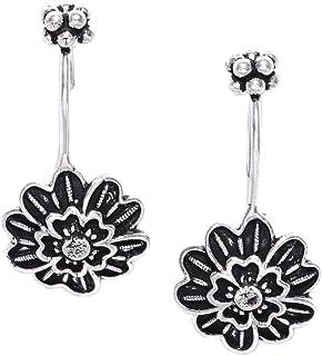 PRITA Black Silver Plated Oxidised Flower Earcuff for Women