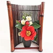 お正月アレンジ和風 造花 和風アレンジ シルクフラワーアレンジ 椿の花と蘭の白 木枠フレーム付き