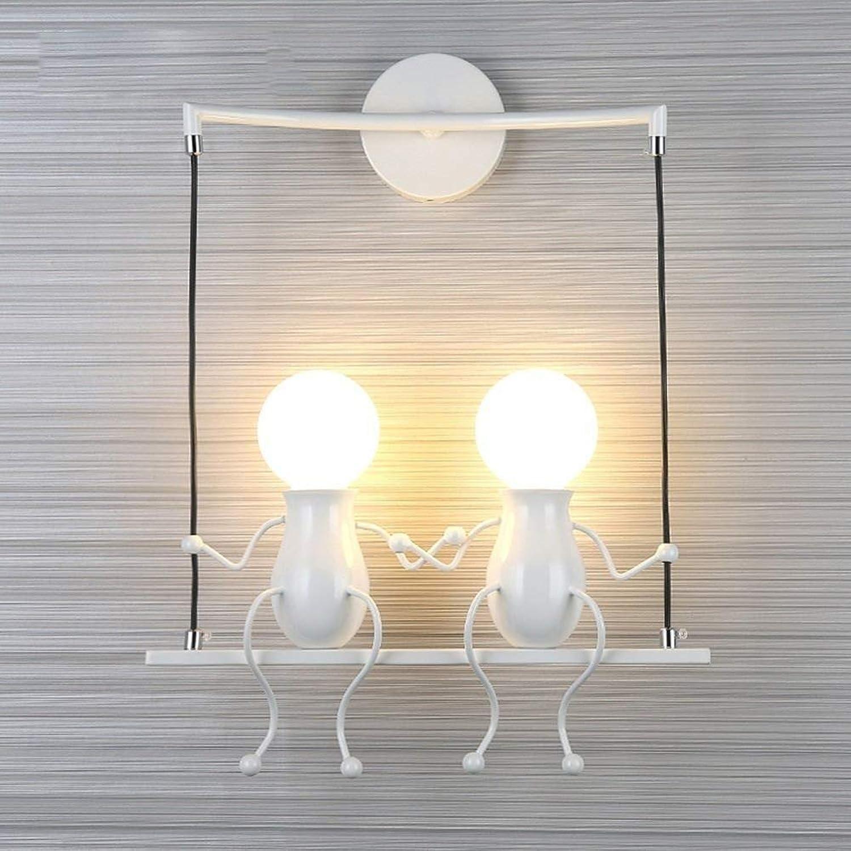 Modern Wandleuchte Metall E27 Wandlampe Kreativ Cartoon Lampe Effektlampe Flurlampe Treppenleuchte Nachttischlampe FüR Kinderzimmer Wohnzimmer Schlafzimmer Studiezimmer,2Weiß