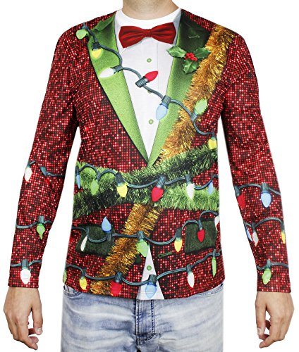 Faux Real Christmas Holiday Lights Suit Print T-Shirt, Photo Realistic Holiday Shirt (Adult XL)