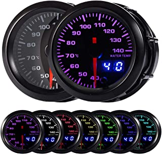 HOTSYSTEM 7 Color Water Coolant Temperature Gauge Kit 40-140 Celsius Pointer & LED Digital Readouts 2-1/16