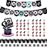50PCS Decoraciones para fiestas,Globos de cumpleaños Suministros para fiestas, Fiestas De Cumpleaños Globo De Látex Cake Topper Pancarta De Feliz Cumpleaños Suministros
