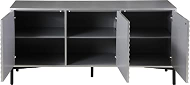 Meridian Furniture Glitz Collection Modern   Contemporary Antique Silver Sideboard/Buffet with Matte Black Base and Starburst
