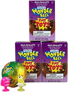 Milk Chocolate Wonderball with Candy and Collectible Monster Toy Inside Box, 1 oz, Pack of 3