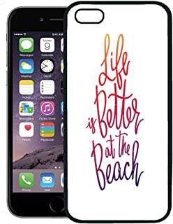 Semtomn Phone Case for iPhone 8 Plus case,Purple Ocean Life is Better at The Beach Trend on Excellent Red Best Brush iPhone 7 Plus case Cover,Black