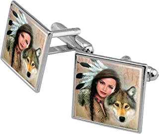 Spirit of The Wolf Native American Square Cufflink Set - Silver or Gold