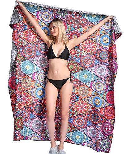 Genovega Mandala Microfiber Beach Towel Blanket - Quick Fast Dry Sand Free Oversized Extra Large Big...