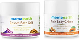 Mamaearth Body Creme for Stretch Marks and Scars, 100ml Cream + Mamaearth Epsom Bath Salt for relaxation and pain relief, 200g
