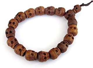 OVALBUY Jujube Wood Carved Skull Beads Buddhist Prayer Wrist Mala Bracelet