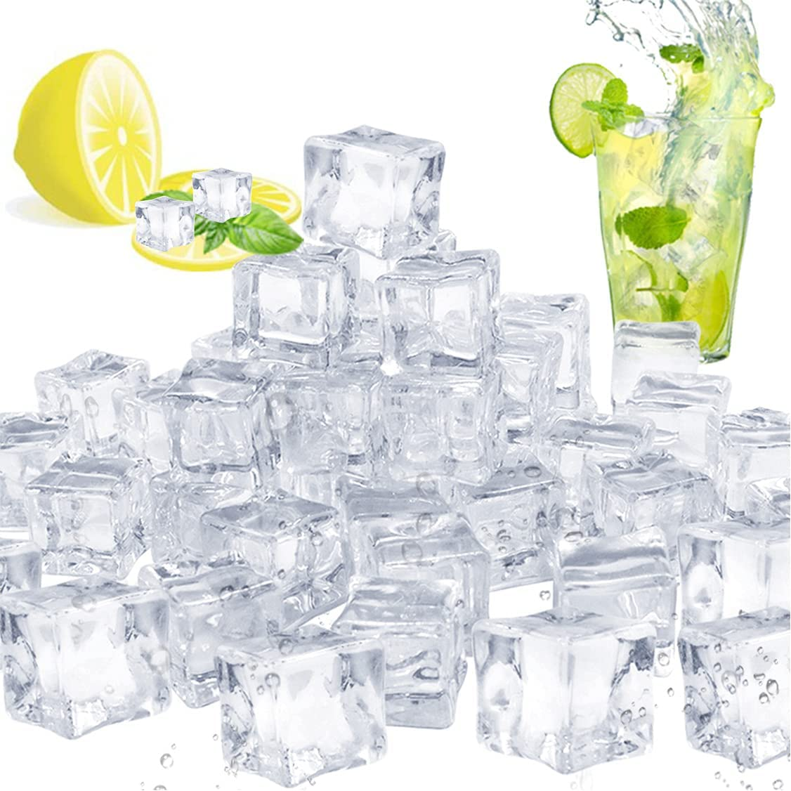 Pynqdfu 100 Pcs Fake Special price Ice Clear Cubes Decorative Cube Acrylic Bargain