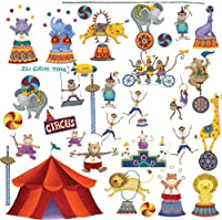 Image: RoomMates Big Top Circus Peel and Stick Wall Decals | The greatest show on earth takes place in your room with these adorable circus animals and their big red tent