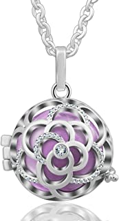 EUDORA Harmony Bola Necklace 20mm Rose Musical Chime Pendant CZ Perfume Diffuser for Mother, 30 Inches
