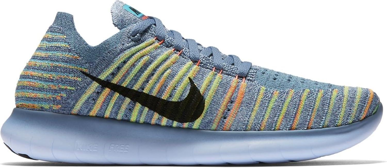 Nike Damen WMNS Free Rn Flyknit Laufschuhe, wei schwarz grau (Weiß schwarz-Pure Platinum), 38.5 EU