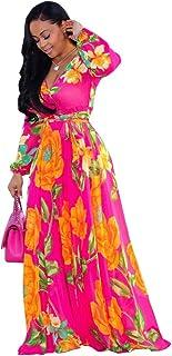 94804986c Nuofengkudu Womens Stylish Chiffon V-Neck Printed Floral Maxi Dress with  Waisted Belt Plus Size