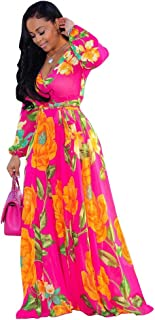Nuofengkudu Womens Stylish Chiffon V-Neck Printed Floral Maxi Dress with Waisted Belt Plus Size (FBA)