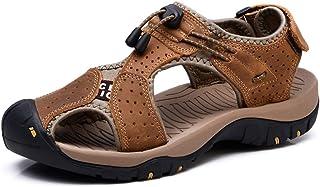 0b2187a01b9652 Sandales de Marche Homme Cuir Chaussure Plage Bout Été Respirant Randonnée  Fermé Ouvert Trekking Fisherman Leather