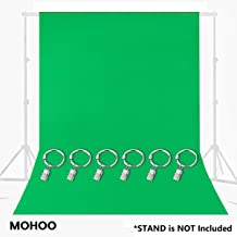 MOHOO 7x5FT Green Photography Backdrop, Green Backdrop with Ring Metal Holding Clips, Solid Color Green Screen Photo Backdrop, Studio Photography Backdrop for Studio Video Photo Photo Shot