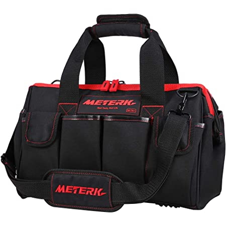 Sac à outils METERK, charge maximale 70 kg, 40 x 22 x 25 cm, 17 poches multiples, polyester 600D, Zip Flexible, PU anti-rayures