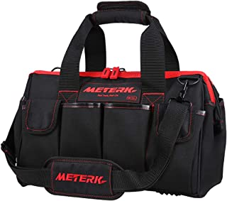 Meterk Tools Bag 16 Inch Heave Duty Tools Bag 17 Multi-Pockets with Adjustable Shoulder Strap, Wide Mouth Tools Storage Bag with Wear Resistant Rubber Base