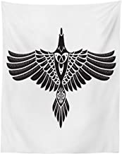Lunarable Raven Tapestry Twin Size, Norse Theme Bird in Celtic Design Monochrome Style Illustration Print, Wall Hanging Bedspread Bed Cover Wall Decor, 68