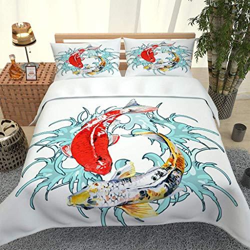 LMHWW Bedding Set,Duvet Covers King Size Painted Carp Pattern 3D Printing Ultra Soft Microfibre Duvet Cover Quilt Bedding Set With Zipper Closure (230X220cm + 2 Pillowcases 50X80cm)