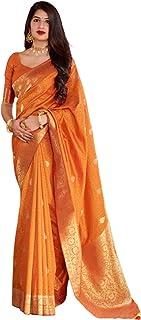 ملابس ساري تقليدية تقليدية تقليدية بنمط جديد ناعم مطبوع عليها أزياء هندية صفراء للسيدات طراز 5771