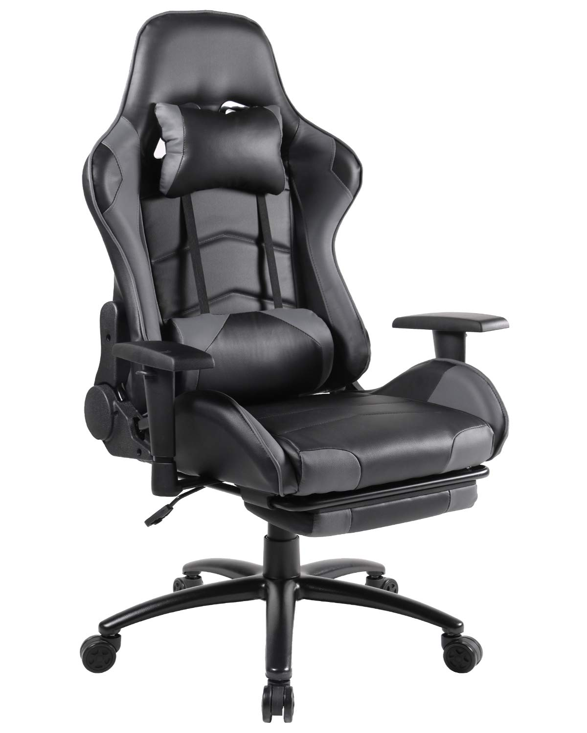 Gaming Chair Racing Office Chair High Back PU Leather Computer Desk Executive and Ergonomic Swivel Chair with Headrest