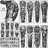 46 hojas de tatuajes temporales impermeables de brazo completo para hombres, tatuajes falsos de animales de flor de tigre león para mujeres adultas, tatuaje de mano en el antebrazo y hombro en 3D
