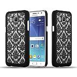 Cadorabo Samsung Galaxy J5 2015 Hardcase Hülle in SCHWARZ Blumen Paisley Henna Design Schutzhülle – Handyhülle Bumper Back Hülle Cover