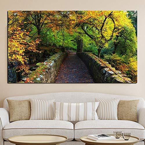 wZUN Imprimir Paisaje de otoño Natural Paisaje Pintura al óleo sobre Lienzo Arte Cuadro de Pared para decoración de Sala de Estar 60x90 Sin Marco