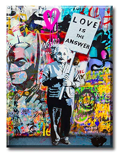 """Graffiti Wall Art """"Love is Answer"""" Canvas Print Painting Colorful Figure Street Artwork Poster Pictures for Living Room Bedroom Home Decor StretchedandFramedReadytoHang 12'W x 16'H"""