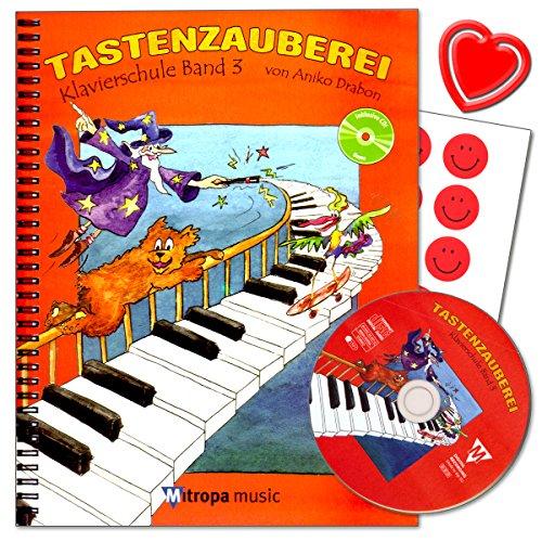Toetsenbord Band 3 - piano school van Aniko Drabon - school voor individueel en groepsonderwijs in het Duits met CD, 7 grappige smiley-sticker en kleurrijke hartvormige muziekklem