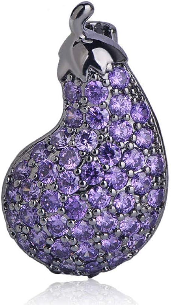 Sales results No. 1 famous KYCPTNFJ Cute Plant Small Eggplant Brooch Purple Shape Copper Zi