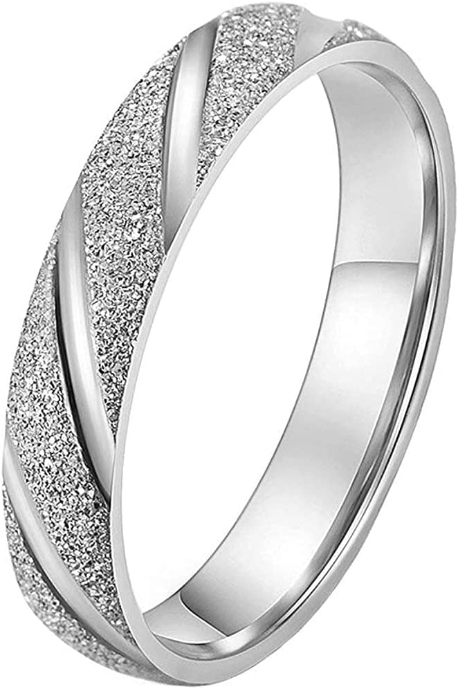SOEPMDM Rings Men's Women's Stainless Promise Sales results No. 1 Store Steel Sa 4MM