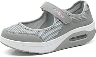 Kauson Mujer Adelgazar Zapatillas de Deporte Cuña Zapatos para Correr Plataforma Sneakers con Cordones Calzado de Malla Ai...