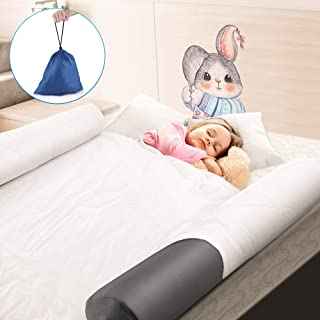 KeShi Bed Rail Bumpers for Toddlers, [2 Pack] Inflatable Safety Bedside Rail Guard with Inflator and Non-Slip Dust-Proof Machine Washable Covers, Portable for Home Hotel and Travel, BPA Approved