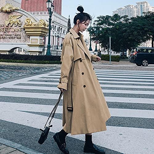 Jskdzfy Chaquetas para mujer Trench vestido de longitud media con doble botonadura sobre la rodilla gabardina chic abrigos para mujer (color: caqui, tamaño: grande)