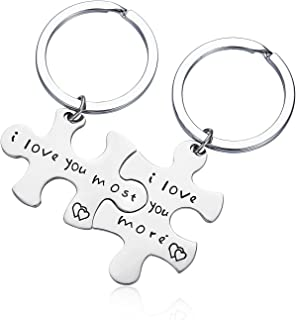 Stainless Steel I Love You More I Love You Most Couples Keychains Set,Personalized Couples Jewelry, for Boyfriend Girlfriend