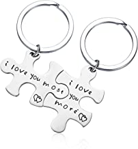 CJ&M Stainless Steel I Love You More I Love You Most Couples Keychains Set,Personalized Couples Jewelry, for Boyfriend Girlfriend