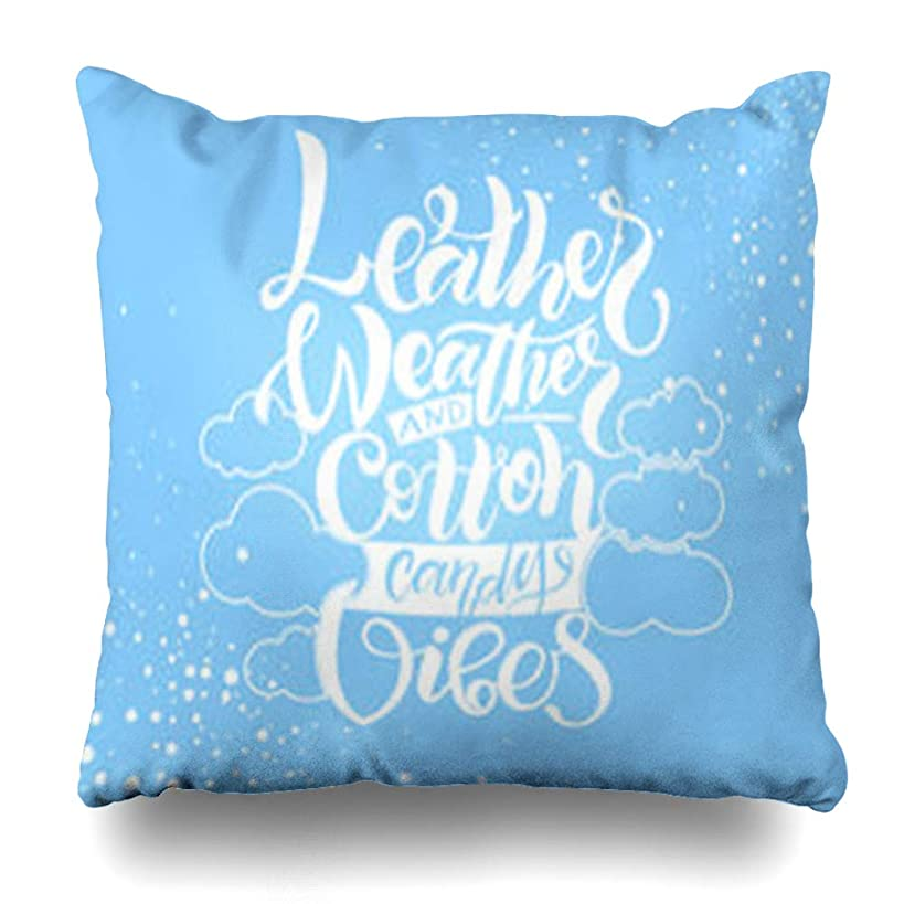 AileenREE Throw Pillow Covers White Drawn Feminine Logotype On Light Blue Magazine Memento Jacket Slipcase Blogging Market Art Clouds Pillowcase Square Size 16 x 16 Inches Home Decor Cushion Cases
