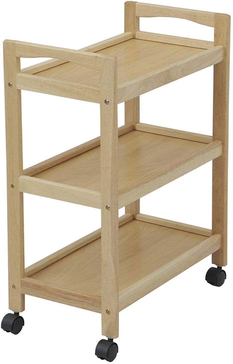 従順シード子羊山善 キッチンワゴン 幅30.5×奥行53.5×高さ72.5cm 3段 スリム 木製 組立品 ナチュラル BNN-3M(NA)