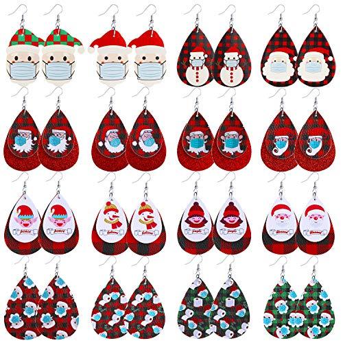 Christmas Earrings for Women 2020 Meaningful Christmas Buffalo Plaid Leather Earrings Christmas Santa Claus Earrings Toilet Paper Pattern Earrings 16 Pairs