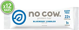 No Cow Protein bar, Blueberry Cobbler, 22g Plant Based Protein, Keto Friendly, Low Sugar, Dairy Free, Gluten Free, Vegan, High Fiber, Non-GMO, 12Count