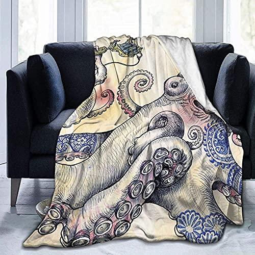 Manta de pulpo de araña lirios ultra suave de micro forro polar, manta súper suave y acogedora para cama, sofá, sala de estar, playa, picnic, otoño, primavera, invierno, uso en blanco