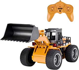 Flywind Remote Control Construction Bulldozer Toys for Boys Kids, RC Shovel Loader Metal 4WD 6 Chanel 1:18 Scale RC Construction Vehicle Toys Bulldozer RC Tractors RC Front Loader for Boys Adults Gift