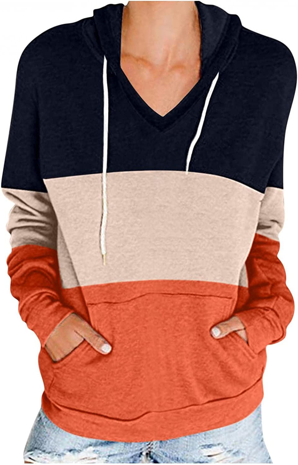 lucyouth Long Sleeve Shirts for Women,Women's Crewneck Casual Color Block Loose Pullover Sweatshirt Blouses Tunic Tops